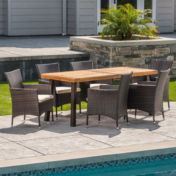 Osbourne Outdoor Acacia Wood/Wicker 7 Piece Dining Set with Cushions by Gracie Oaks