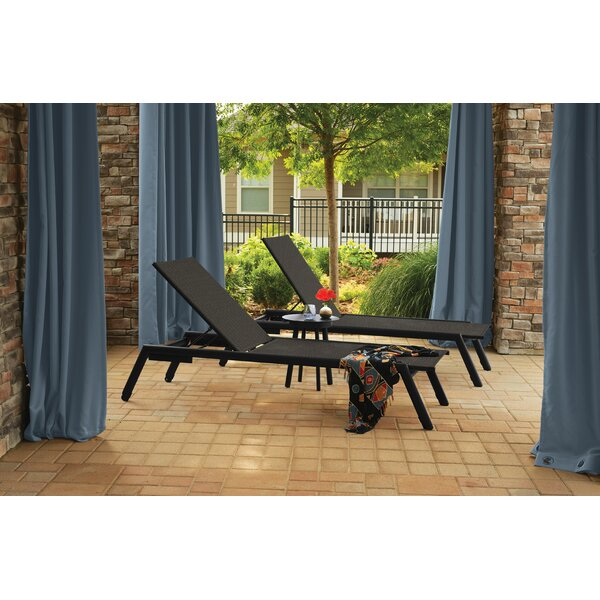 Eiland Reclining Chaise Lounge with Table