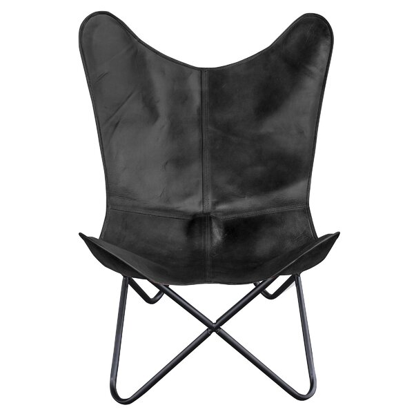 Zetta Natural Leather Butterfly Chair (Set of 2) by Foundry Select