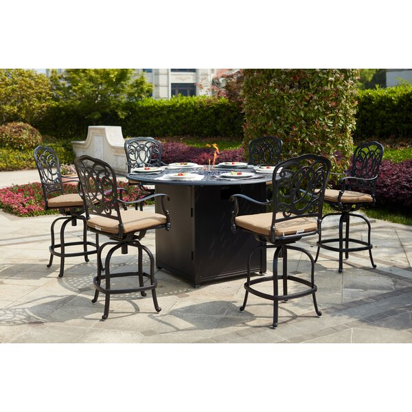 Baucom 7 Piece Bar Height Dining Set With Cushions And Firepit By Fleur De Lis Living