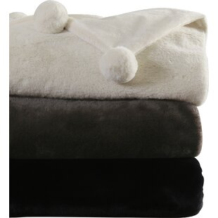 Hugues Faux Fur Pom Pom Throw Blanket and Pillow Set