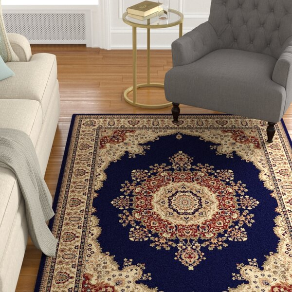 Clarence Navy/Blue Area Rug by Astoria Grand