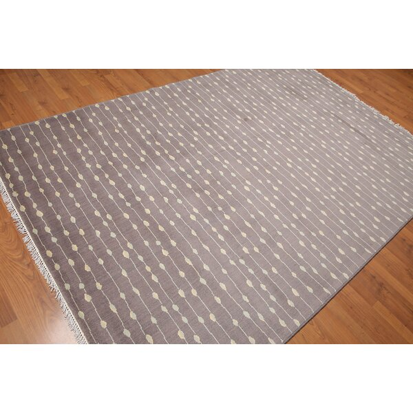 One-of-a-Kind Pruneda Hand-Knotted Wool Gray Area Rug by Bloomsbury Market