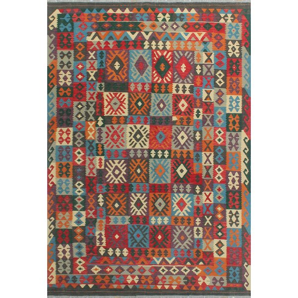 Corda Hand-Knotted Wool Red/Blue Area Rug by Bungalow Rose