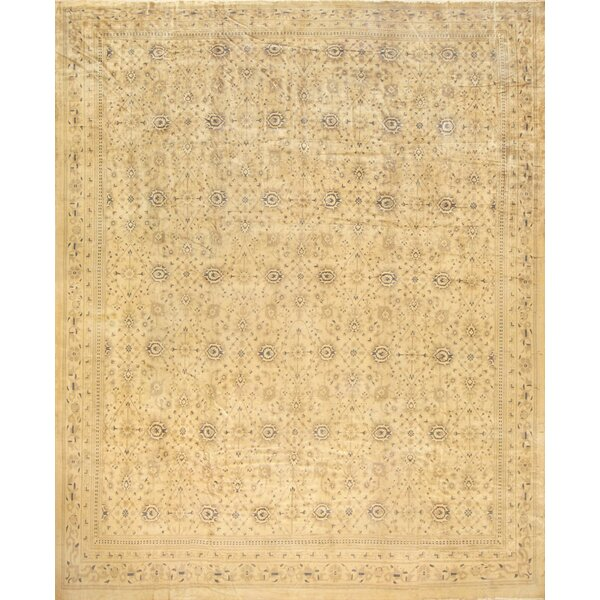 One-of-a-Kind Indian Hand-Knotted Brown 16'3 x 19'2 Wool Area Rug