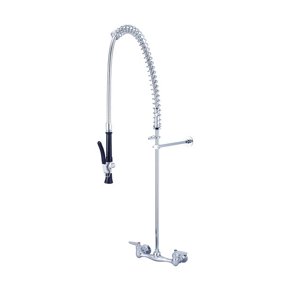 Double Handle Wall Mount Pre-Rinse Kitchen Faucet by Central Brass