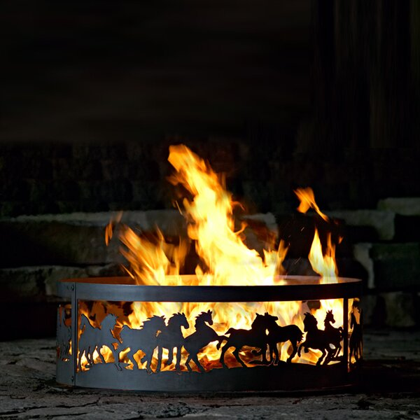 Mustang Steel Wood Burning Fire ring by P & D Metal Works