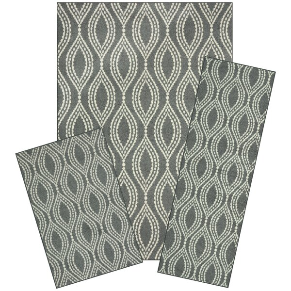 Bothwell 3 Piece Gray Area Rug Set by Winston Porter