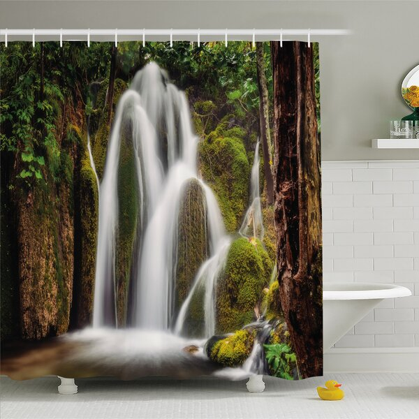 Scenery House Epic Waterfall down the Cliffs Deep in Forest Natural Wonders Picture Shower Curtain Set by Ambesonne