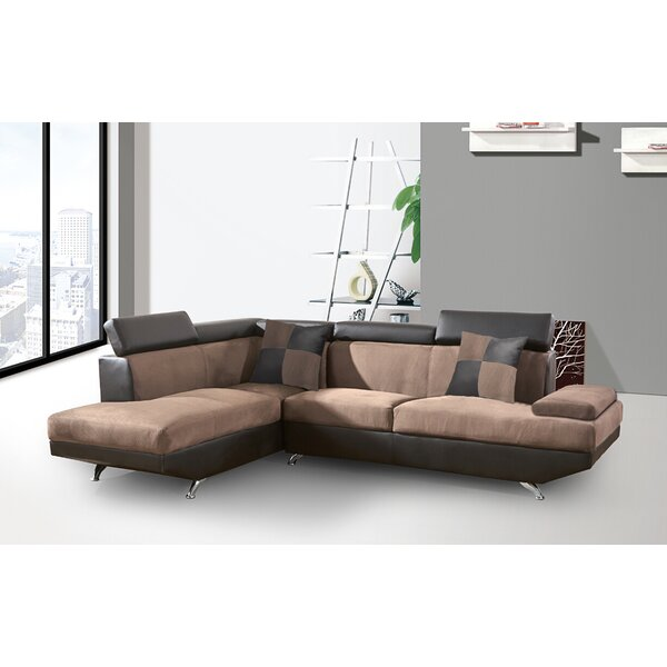 Berardi 2 Tones Coffee Sectional by Orren Ellis