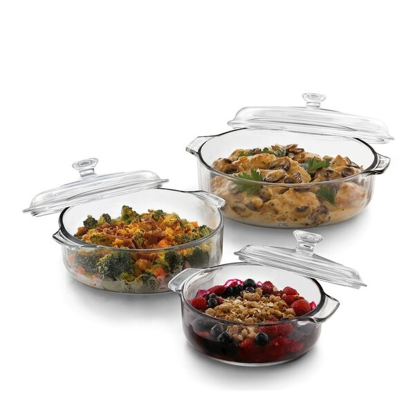 Oval 3 Piece Casserole Set with Covers by Libbey