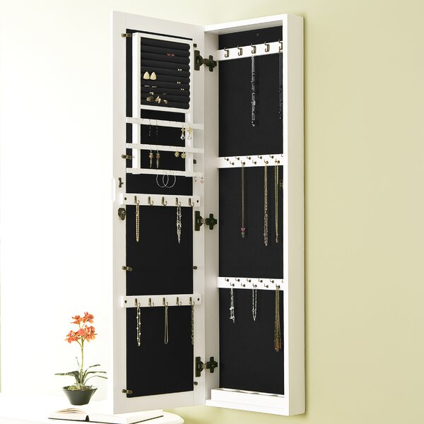 Cecilia Wall Mount Jewelry Armoire with Mirror by