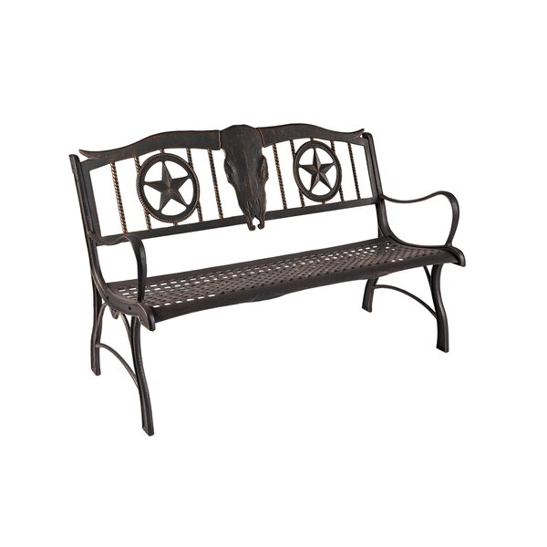 Hembree Longhorn Cast Iron Park Bench by Loon Peak