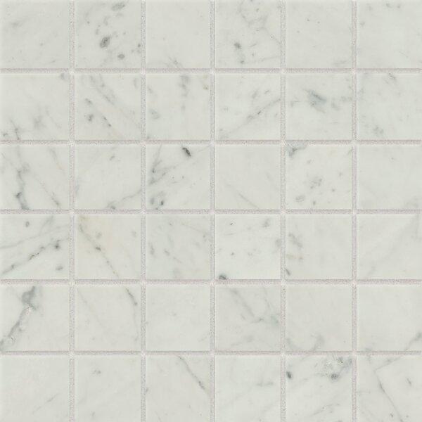 2 x 2 Porcelain Mosaic Tile in Bianco Carrara