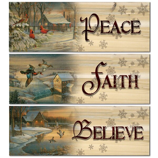 Believe/Faith/Peace 3 Piece Graphic Art Plaque Set by WGI-GALLERY