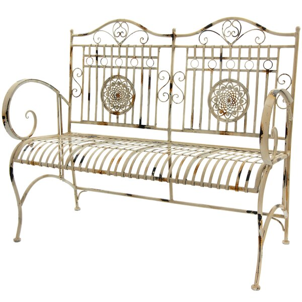 Rustic Metal Garden Bench by Oriental Furniture