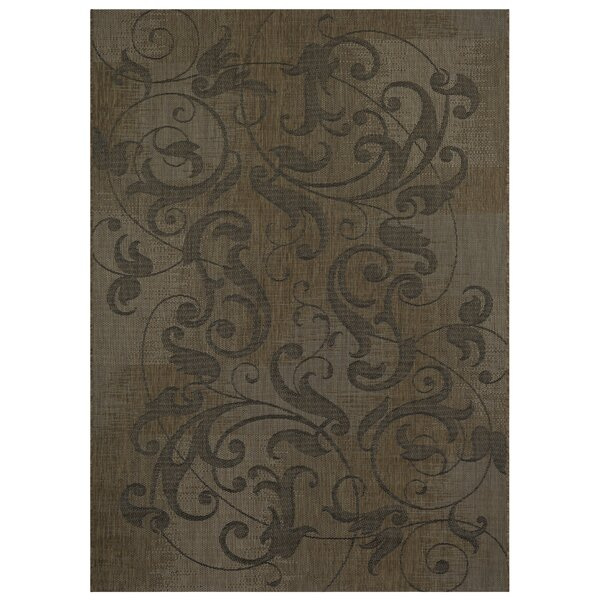 Savage Distressed Scroll Dark Brown Indoor/Outdoor Area Rug by Fleur De Lis Living