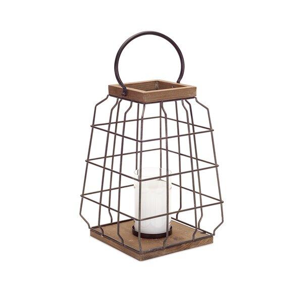 Open Metal/Wood/Glass Lantern by Melrose International