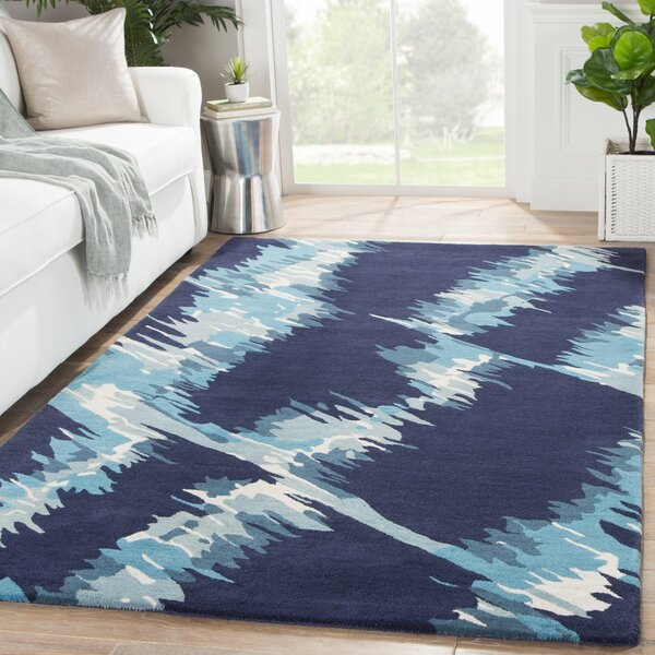 Nick Hand-Woven Wool Blue Camouflage Area Rug by Wade Logan