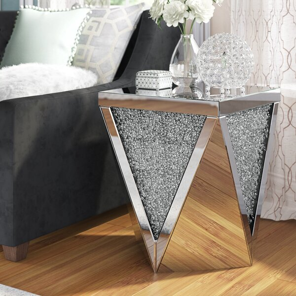 Khalil Crystal End Table by Rosdorf Park
