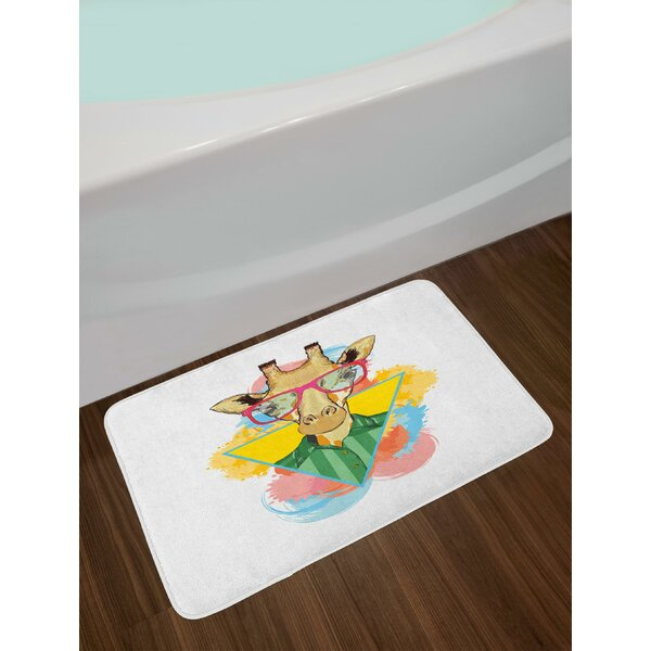 Abstract Animal Design with Shirt and Glasses Triangle Color Splashes Background Bath Rug by East Urban Home