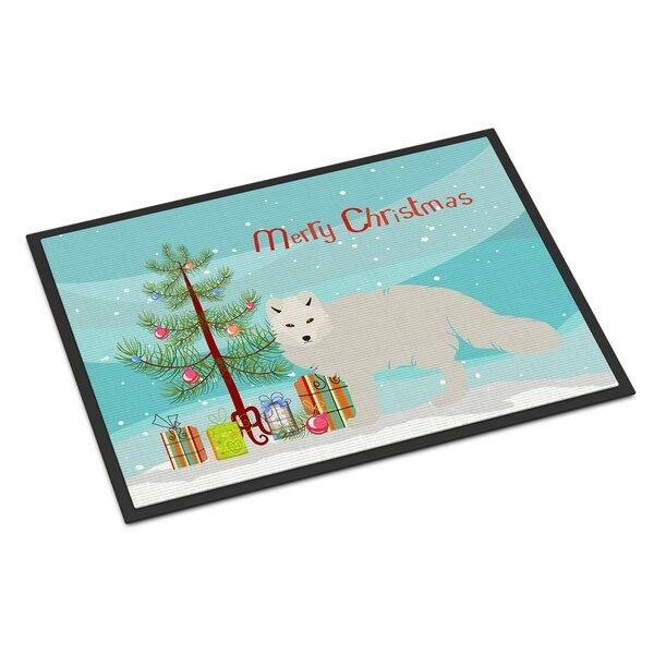 Annabella Arctic Fox Christmas Non-Slip Outdoor Door Mat