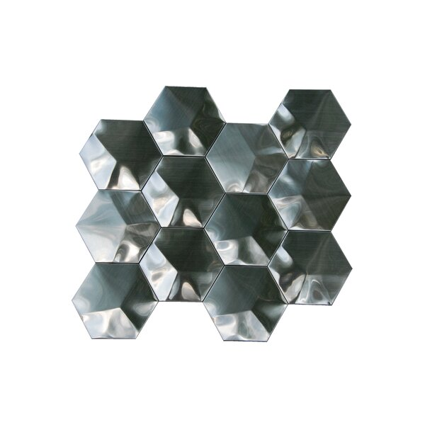 3D Hexagon 3 x 3 Metal Mosaic Tile in Silver by Luxsurface