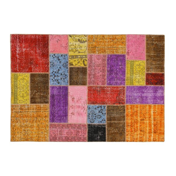 Hand-Knotted Red/Pink Area Rug by La Viola Décor