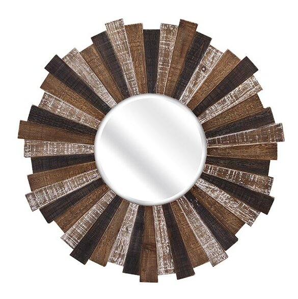 Wood Starburst Wall Mirror by Woodland Imports