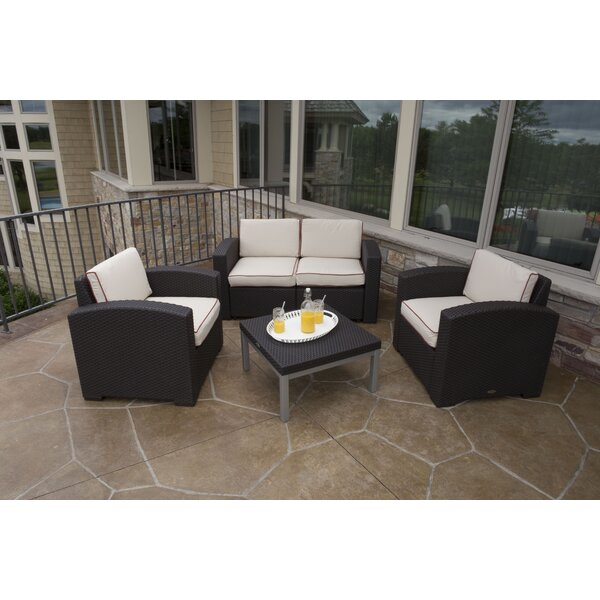 Loggins 4 Piece Sunbrella Loveseat Sofa Seating Group Set with Cushions by Brayden Studio