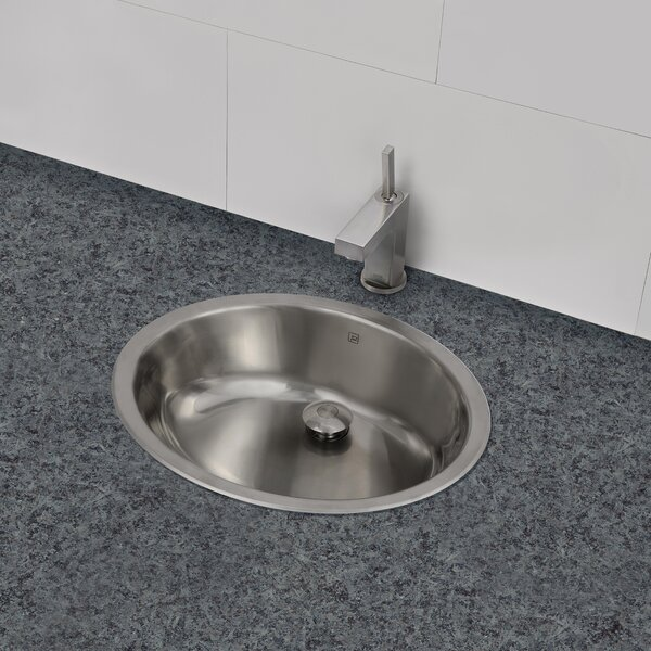 Taji Stainless Steel Metal Oval Undermount Bathroom Sink with Overflow by DECOLAV