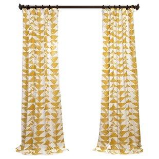 Katelyn Printed Cotton Twill Geometric Rod Pocket Single Curtain Panel