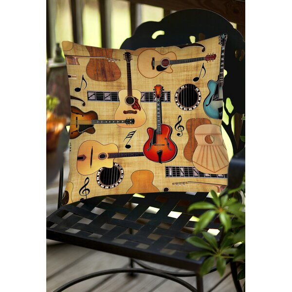 Guitar Collage Cream Indoor/Outdoor Throw Pillow by Manual Woodworkers & Weavers