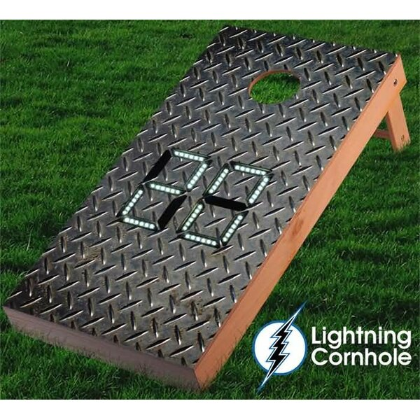 Electronic Scoring Diamond Steel Plate Cornhole Board by Lightning Cornhole