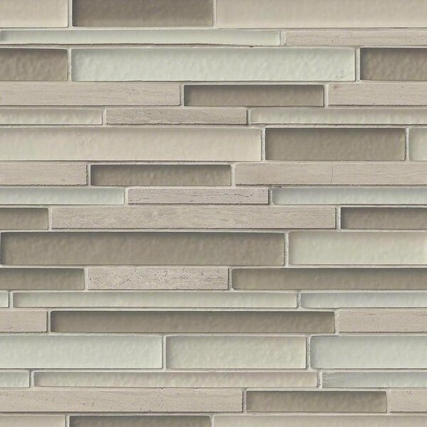 Truffle Stone Interlocking Pattern Random Sized Glass/Stone Tile in Beige by MSI