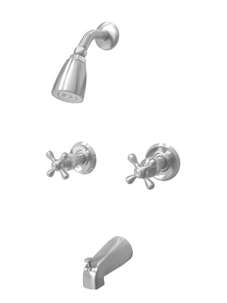 Magellan Diverter Tub Shower Faucet with Metal Cross Handles by Elements of Design