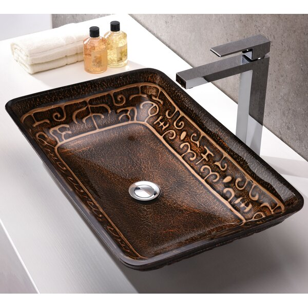 Alto Glass Rectangular Vessel Bathroom Sink by ANZZI
