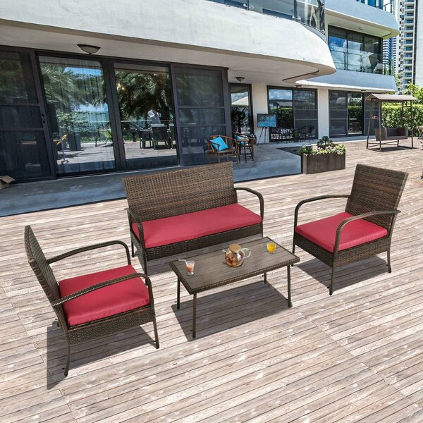 4 Piece Rattan Sofa Seating Group with Cushions by Ebern Designs