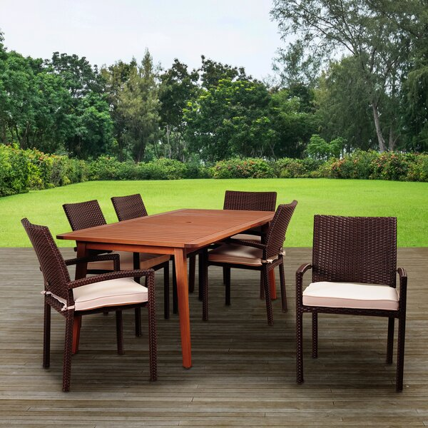 Tyner International Home Outdoor 7 Piece Dining Set with Cushions by Highland Dunes