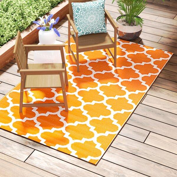 Bremond Block Hand Woven White/Orange Indoor/Outdoor Area Rug by Mercury Row