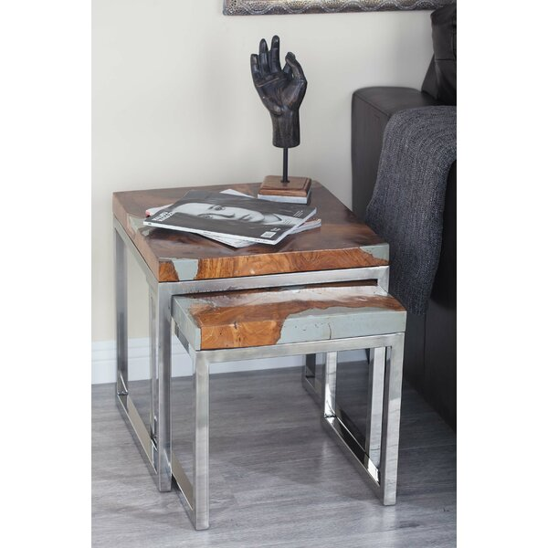 2 Piece Teak Aluminum End Table Set by Cole & Grey