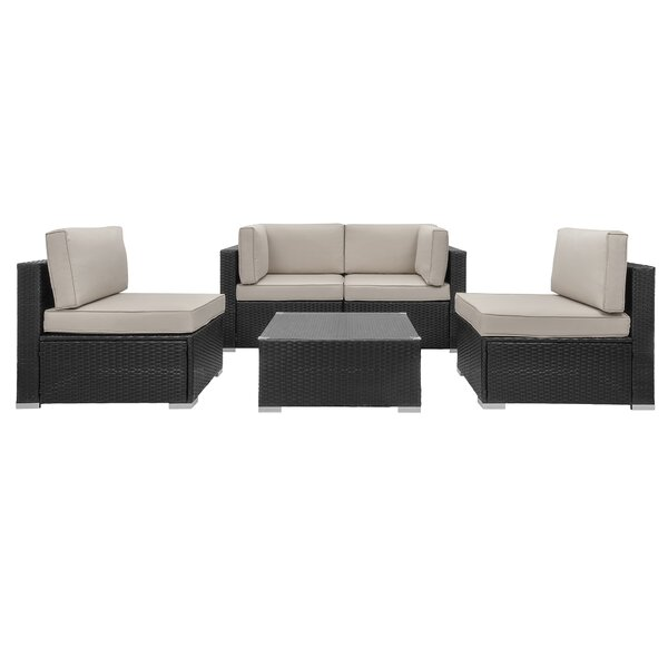 Swain 5 Piece Rattan Sofa Seating Group with Cushions by Ebern Designs Ebern Designs