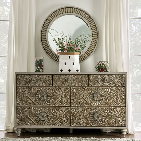 Zeller 7 Drawer Double Dresser with Mirror by Ophelia & Co.
