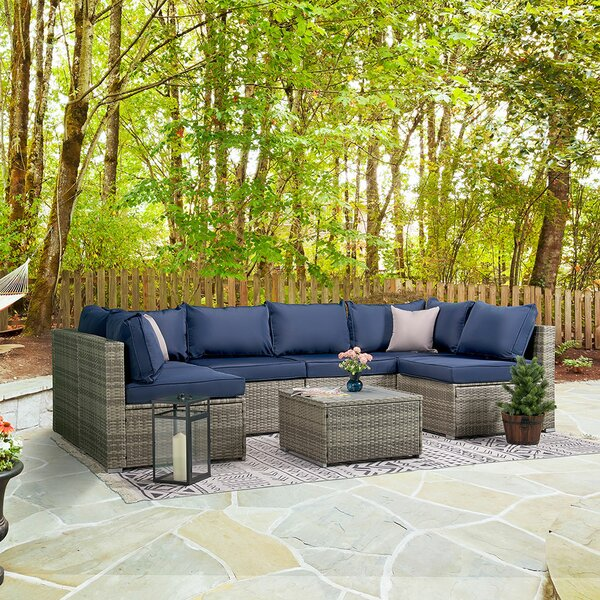 Baylis 7 Piece Rattan Sectional Seating Group With Cushions By Longshore Tides
