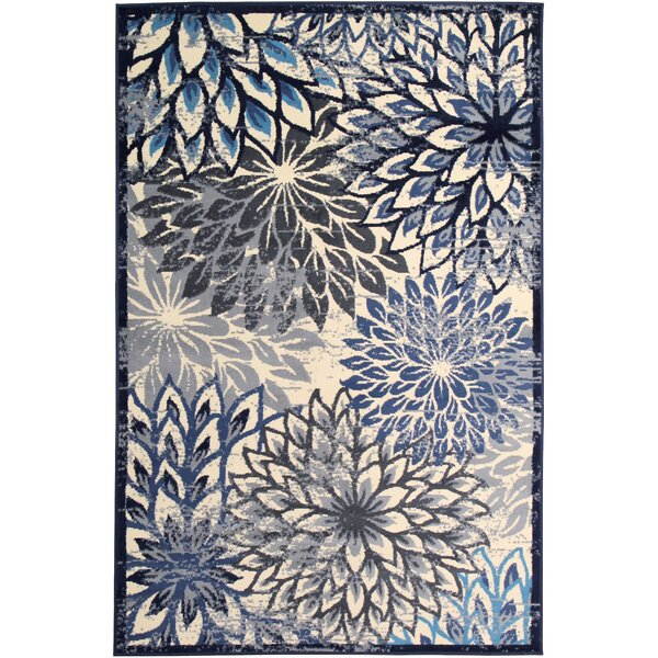 Bonner White/Blue Area Rug by Ebern Designs