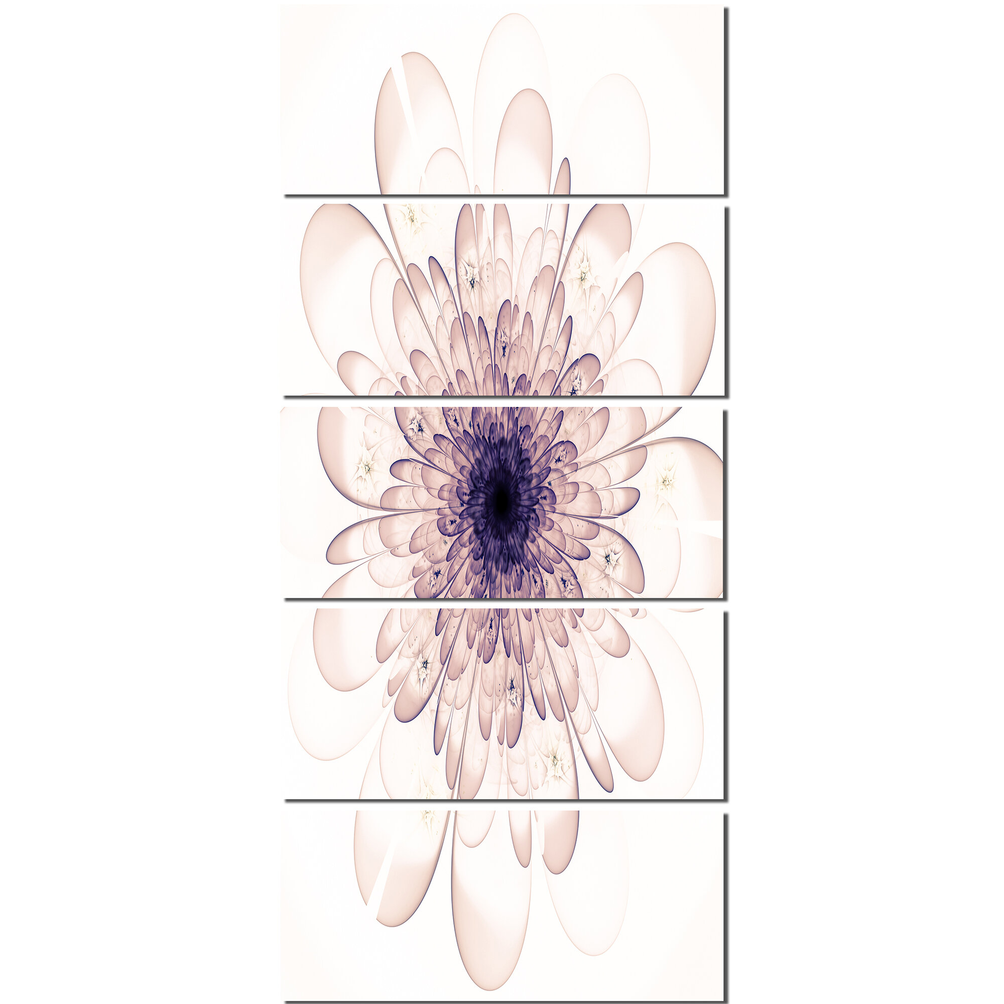 Designart Perfect Glowing Fractal Flower In Purple 5 Piece Graphic Art On Wrapped Canvas Set Wayfair