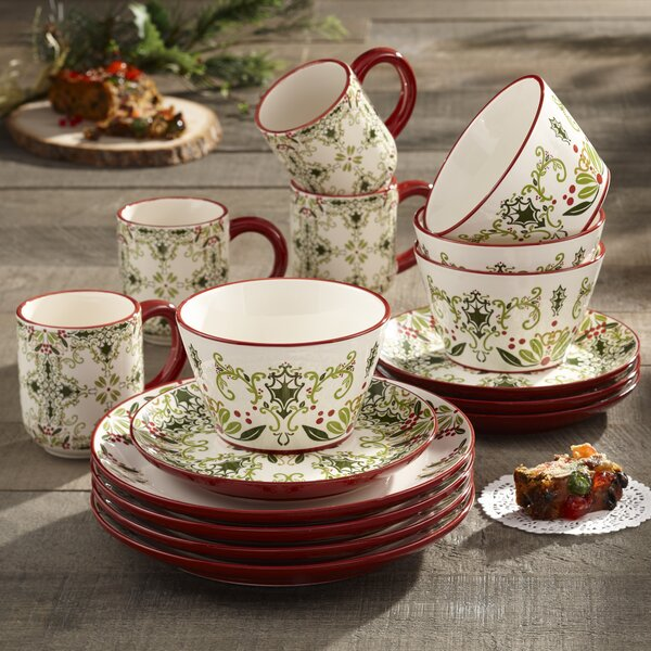 Holmes 16 Piece Dinnerware Set, Service for 4 by B