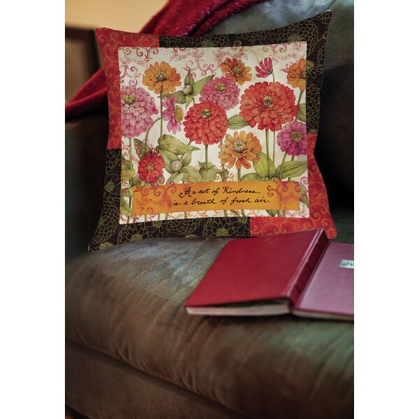 Zinnia Printed Throw Pillow by Manual Woodworkers & Weavers