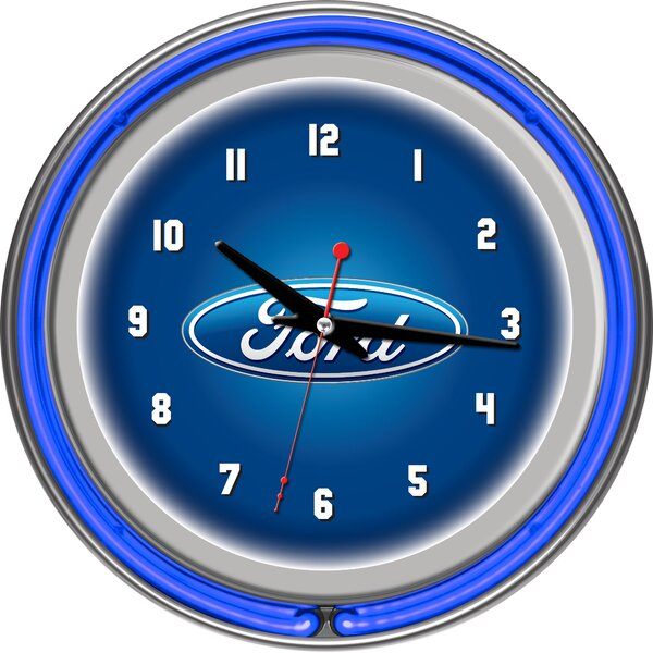 Ford Oval 11 Double Rung Neon Clock by Trademark Global