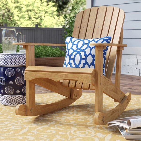 Chartier Solid Wood Rocking Adirondack Chair by Highland Dunes